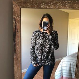 J. Crew Brown Leopard Teddie Crewneck Sweater